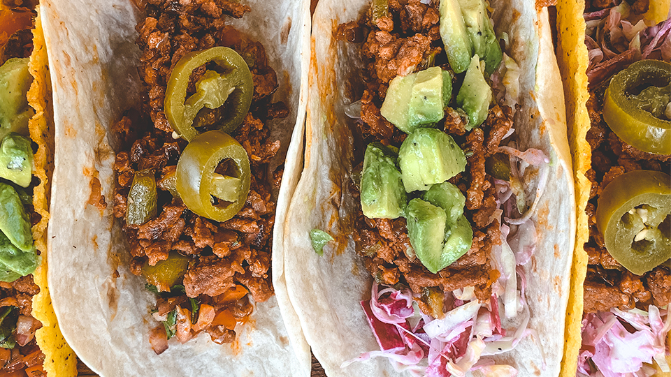Mexican tacos made with Meatless Farm ground