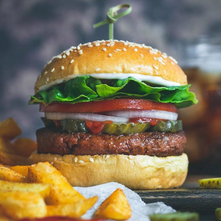 Meatless Farm Burger with lettuce, tomato and onion