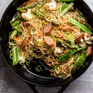 Stir fry with Meatless sausage and vegetables
