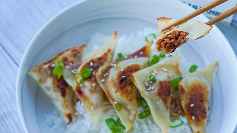 Chinese dumplings with Meatless Farm filling