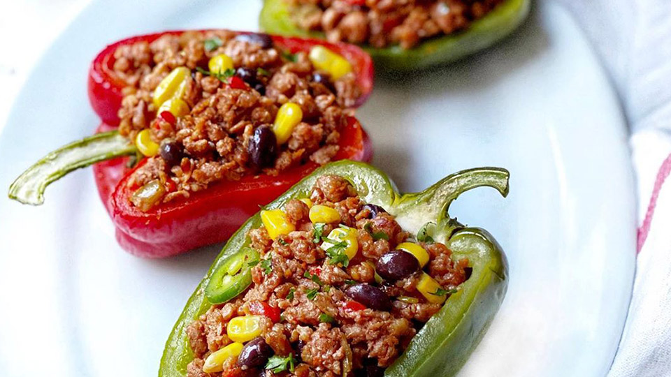 Stuffed peppers with Meatless Farm mince