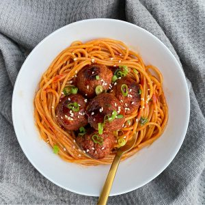 Verna Hungry Banana's Korean Meatballs & Spaghetti