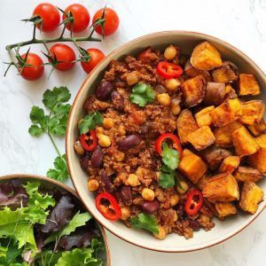 Chilli non carne with sweet potato cubes