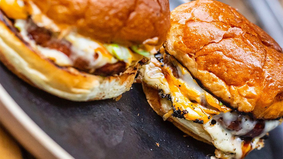 Meat-free burger with melting cheese in a burger bun
