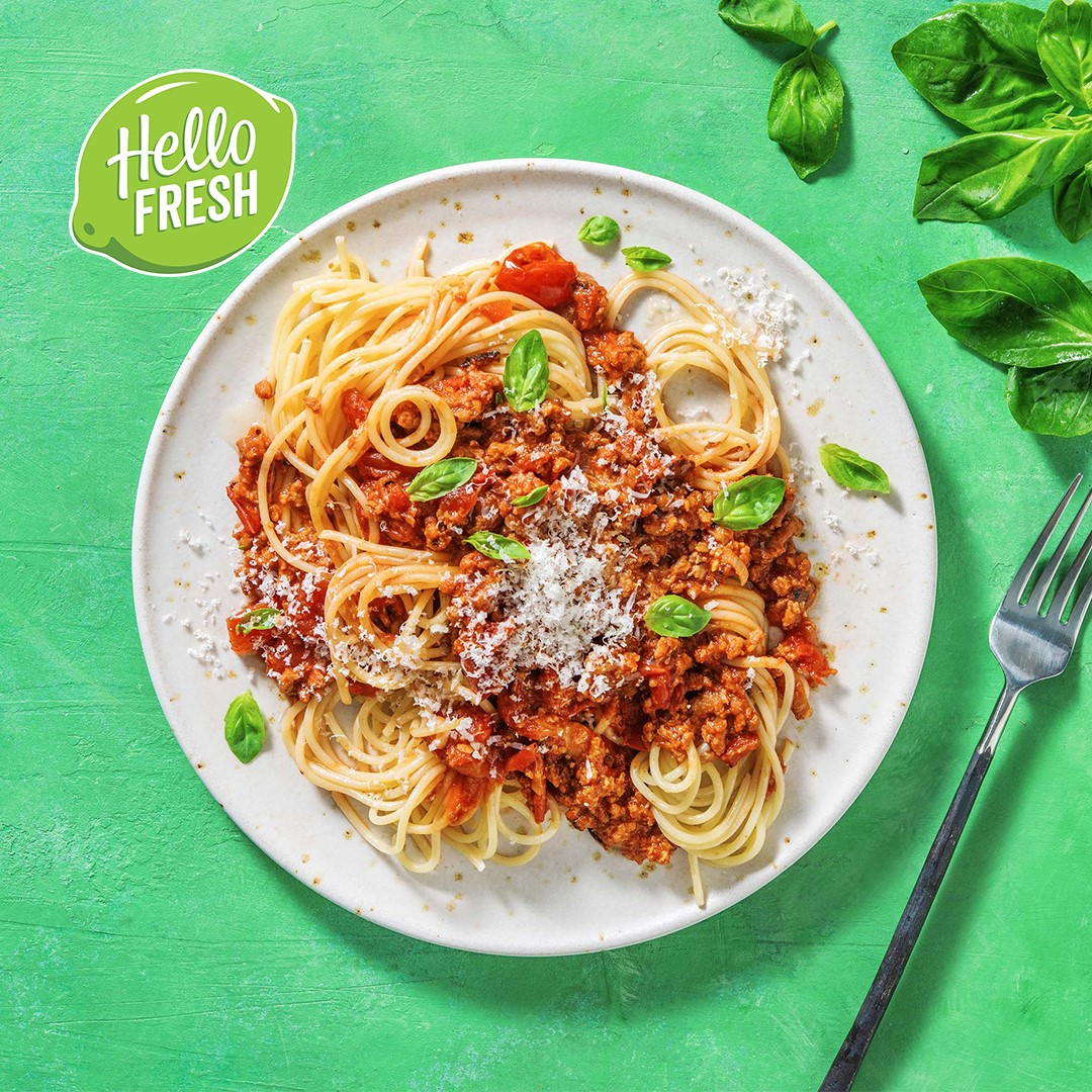 Meatless Farm spaghetti Bolognese with Hello Fresh NL for Week Zonder Vlees