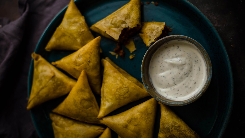 Samosa wraps filled with spiced Meatless Farm Mince