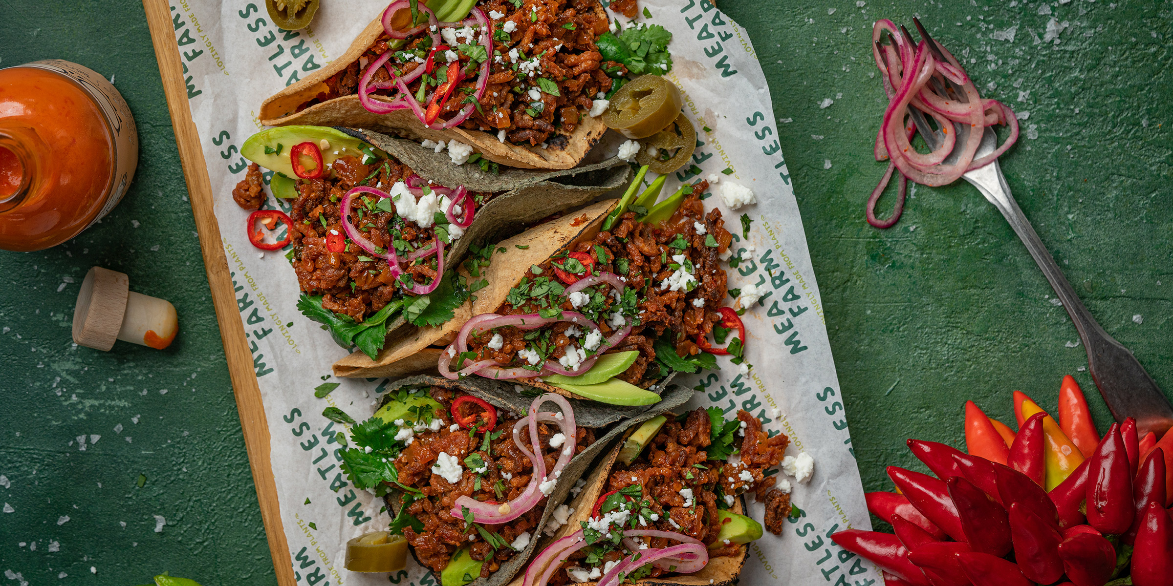 Meatless Tacos with plant-based mince