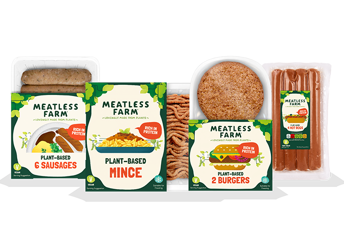 Meatless Farm plant-based burgers, mince, sausages and hot-dogs