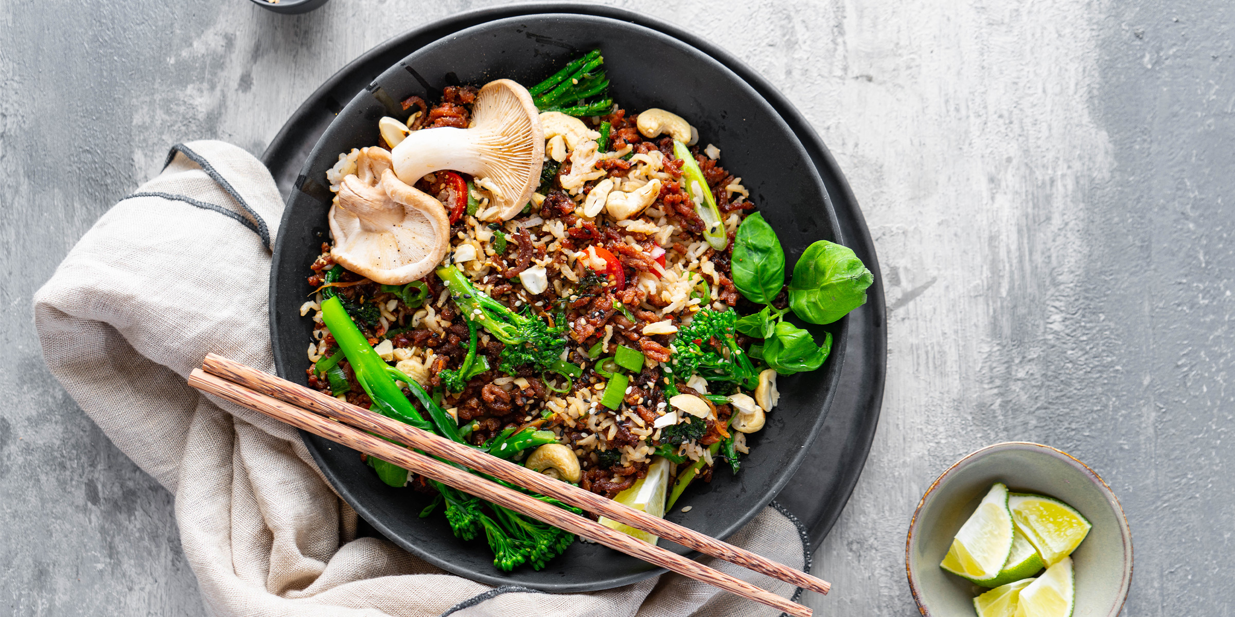 Power stir fry made with Meatless Farm ground