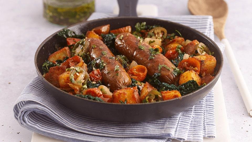 Meatless Dijon Glazed Sausage Casserole recipe