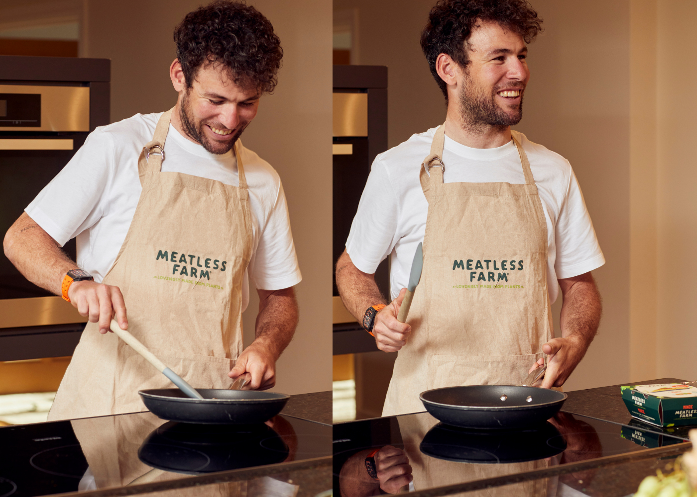 Mark Cavendish cooking with Meatless Farm