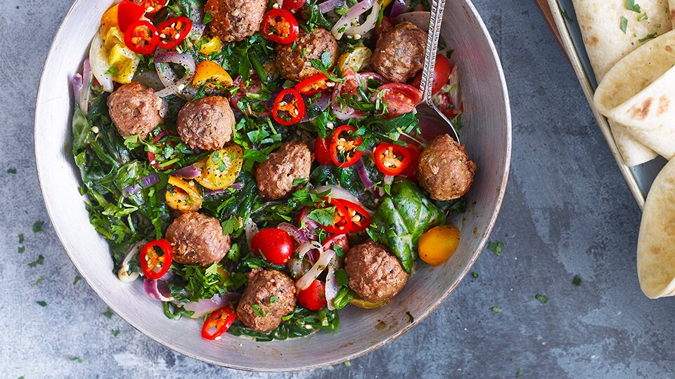 Meatless Farm Meatballs with shakshuka
