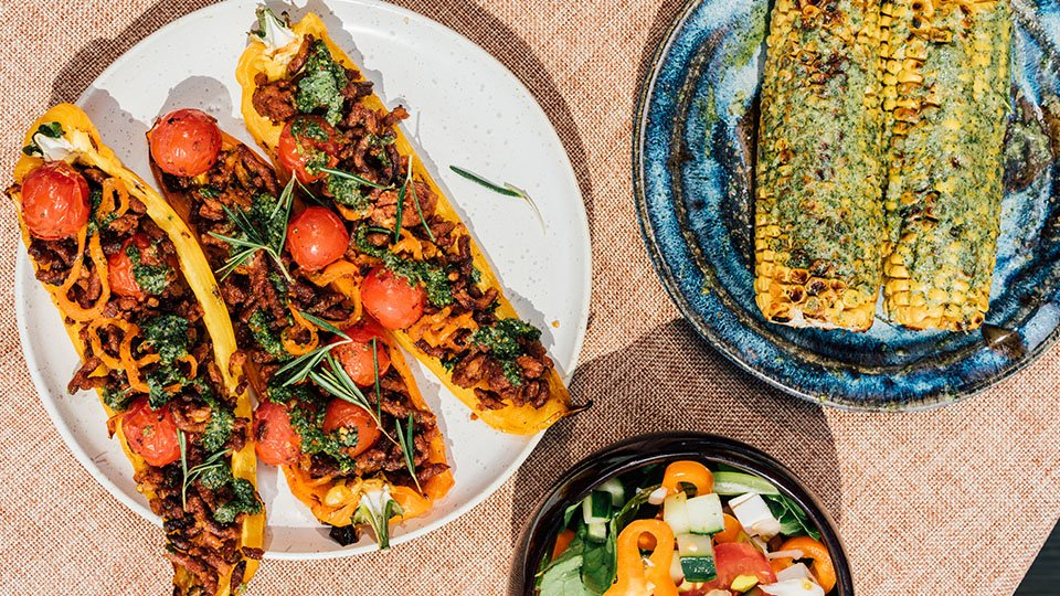 Meatless Farm BBQ recipes - plant-based stuffed peppers