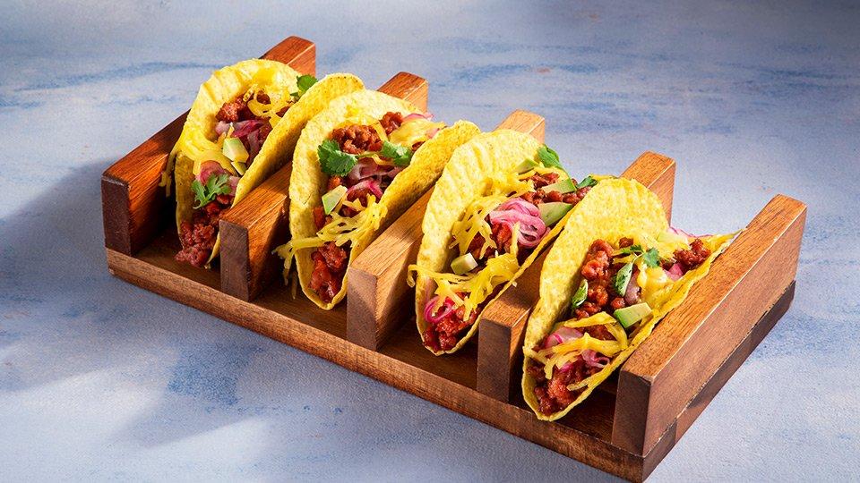 Meatless Farm cheesy vegan tacos